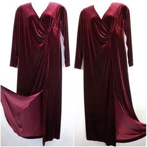 Seventh Avenue Crushed Velvet Maxi Dress Faux Wrap